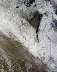 Early meteorological winter in the U.S. Midwest captured by NASA