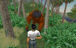 A Second Life avatar interacts with an orang-utan on WWF's Conservation Island