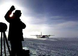 A worker is seen at the US controlled Amundsen-Scott South Pole base in Antartica