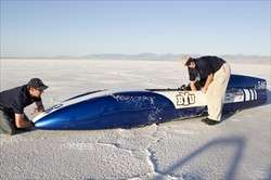 BYU's electric streamliner hums quickly, quietly over Salt Flats