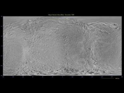 Cassini marks holidays with dramatic views of Rhea