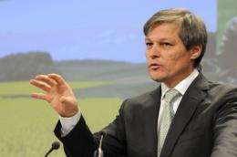 European Union Commissioner for Agriculture Dacian Ciolos talks to the media