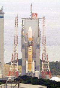 Japan's H2A rocket is set on its launch pad at the Tanegashima space centre in Kagoshima prefecture