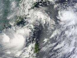 NASA's Terra Satellite captures 3 tropical cyclones in the northwestern Pacific Ocean