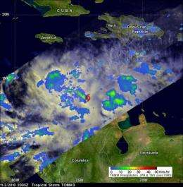 NASA's TRMM satellite sees Tomas' power fluctuate