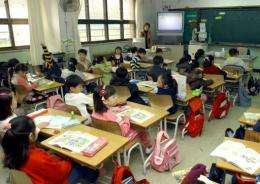 South Korean students take a lesson at an elementary school in Seoul