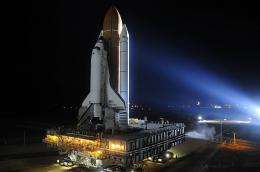 US space shuttle Discovery is moved to Kennedy Space Center's launch pad 39-A