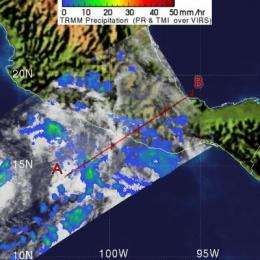 NASA's TRMM Satellite sees Tropical Depression 2-E dissipating