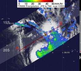 Tropical Storm Nisha being battered by wind shear