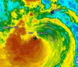 NASA satellites and aircraft studied Hurricane Karl before it faded
