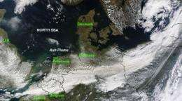 Terra Satellite sees Iceland volcano's ash moving into Germany