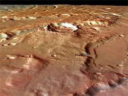 Solis Planum, close-up perspective view, looking south-east
