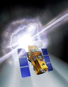 An artist's impression of the Swift spacecraft with a gamma-ray burst going off in the background. Credit: Spectrum Astro.