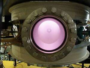 Helicon reactor in operation. Credits: LPTP, Ecole Polytechnique