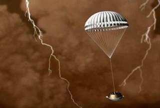 Huygens probe descending through Titan's atmosphere