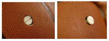 A tiny, battery-powered sounding device is placed inside this Spalding Infusion basketball