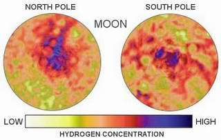 Hydrogen deposits measured by Lunar Prospector.