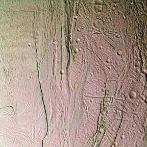 This false-color, close-up look at Saturn's moon Enceladus yields new insight into the different processes that have shaped the