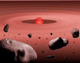 Illustration of a debris disk surrounding a young red dwarf star