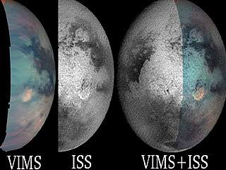 ombined VIMS and ISS images of Titan's mysterious bright red spot gives researchers more information about the feature than eith