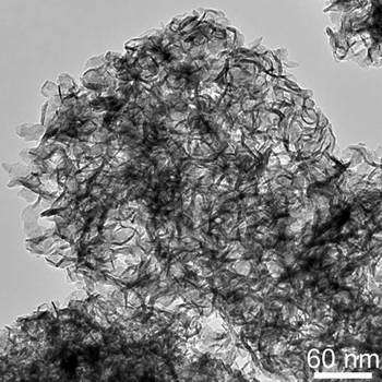 Transmission electron micrograph of molybdenum disulfide produced by ultrasonic spray pyrolysis