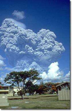 The June 12, 1991 eruption column from Mount Pinatubo, Philippines, as seen from Clark Air Base