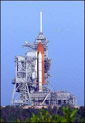 The space shuttle Discovery sits on launch pad 39B at the Kennedy Space Center