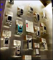 3G mobile phones on display