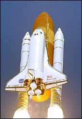 Space Shuttle Discovery launching
