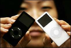 A model displays the iPod nano