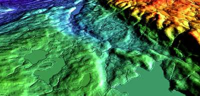 D visualisation of InSAR derived elevation data on Baffin Islan