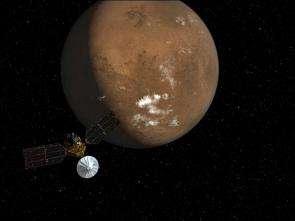 Artist's concept of Mar Reconnaissance Orbiter near Mars