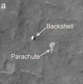 NASA Mars Orbiter Photographs Spirit and Vikings on the Ground