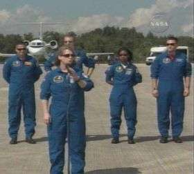 Space Shuttle Crew Arrives in Florida