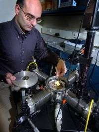 Dimitrios Peroulis Holds a New MEMS Sensor