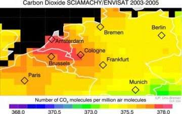 Envisat makes first ever observation of regionally elevated CO2 from manmade emissions