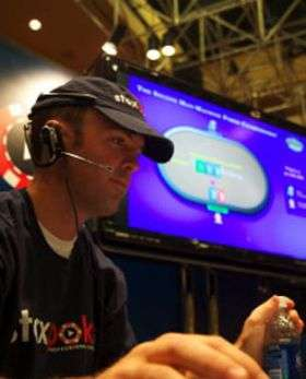 Poker pro Nick Grudzien concentrates on the game.