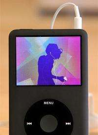 An Apple iPod plays an iPod commercial at an Apple Store July 2009 in San Francisco, California