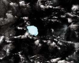 A NASA satellite image of iceberg B17B (C), some 19 kilometres (12 miles) long, floating off West Australia