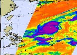 Super typhoon Lupit heading west in the Philippine Sea