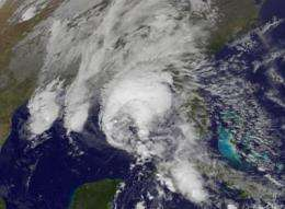 The GOES-12 satellite sees Large Hurricane Ida nearing landfall