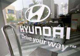 The logo of South Korean auto-maker Hyundai Motors in Seoul