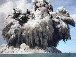 Undersea volcano eruption off the Tongatapu coast of Tonga