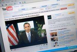A YouTube video of US President Barack Obama's weekly radio address