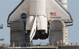 Space shuttle Endeavour is waiting to embark on its final mission to the International Space Station