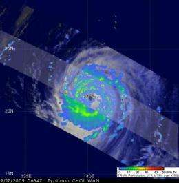 NASA's TRMM satellite sees heavy rainfall in Choi-Wan