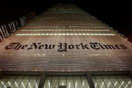 The New York Times headquarters is seen in February 2009 in New York City