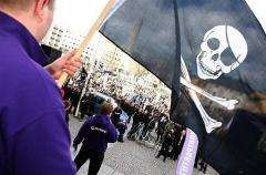 Supporters of The Pirate Bay, an illegal download site, demonstrate in Stockholm in April