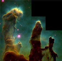 Pillars of Creation formed in the shadows