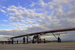 An aircraft dubbed 'Solar Impulse', HB-SIA prototype, is rolled out of a hangar